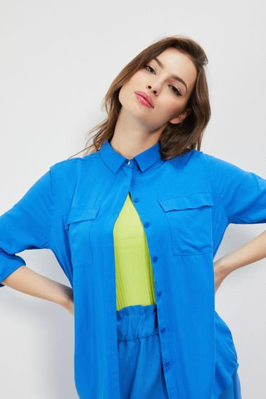 BLOUSE L-KO-3109 BLUE