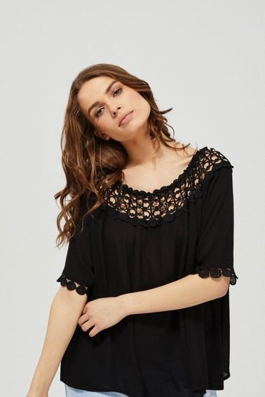 BLOUSE L-KO-3144 BLACK-SET