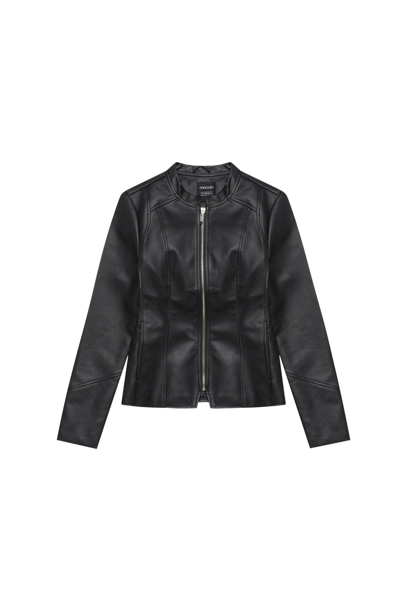 Klasyczna kurtka z eko skóry L KU 2802 BLACK | Moodo