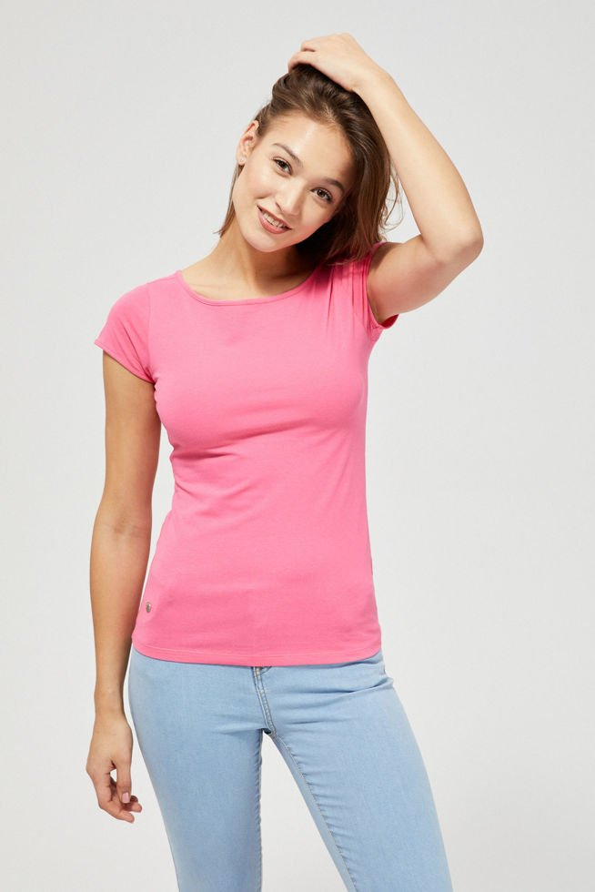 T-shirt basic L-TS-3130 PINK-PAKIET
